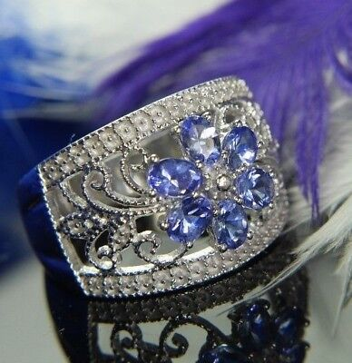 "1/2"" wide Tanzanite Flower 0.925 Sterling Silver Estate Ring size 7.5"