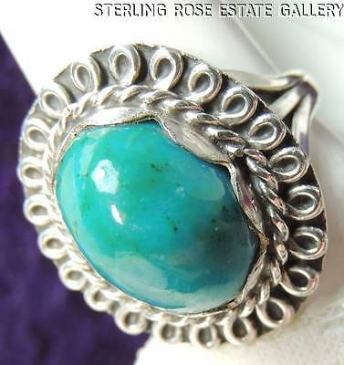 VINTAGE Hand Carved TURQUOISE stone STERLING SILVER 0.925 Cocktail RING size 6.5