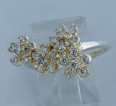 Lovely Estate Sterling Silver Cubic Zirconia Flower Cocktail Ring Adjustable