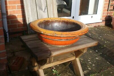 Vintage Large Handmade Wooden Bowl Coopered Wood Bowl Approx 55 cm Wide