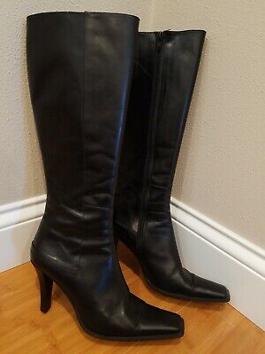 c91883a393b Charles David Women s Size 8.5 Black Leather Knee-High Boots 3.5 inch Heel
