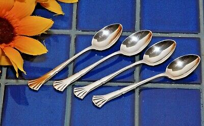 Set 4 Vintage Swedish MEMA EX ALP Silverplate Demitasse Spoons Sweden Fan Flare