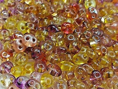 """Twin 2 Hole Czech Glass Seed Beads Size 2.5x5 mm /"""" MIXTURE COLOR # 47 /"""" 50 Grams"""