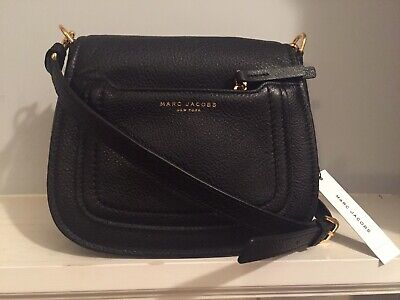 43f8af701eef NWT Marc Jacobs Empire City Mini Messenger Leather Crossbody Black Gold  325