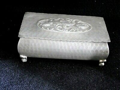 Vintage  Hammered Pewter Trinket Cigarette Box Wood Lined EARLY 1900's  FOOTED