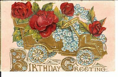 Antique Postcard Arts and Crafts Embossed Floral Antique Car Birthday 1909