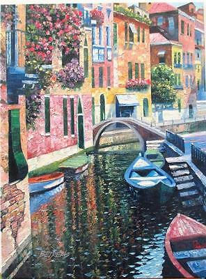 Howard Behrens Romantic Canal Venice Europe Boats Print Poster 16x20