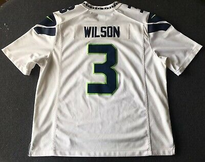 New NIKE SEATTLE SEAHAWKS Russell Wilson Men's 2XL XXL White Stitched  hot sale