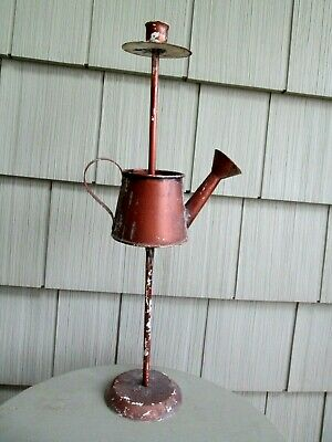 """Watering Can Candle Holder CHIPPY primitive FARMHOUSE discolored RUSTIC 17"""""""