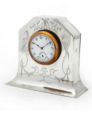 Edwardian Silver Mantle Clock With Removable Working Clock