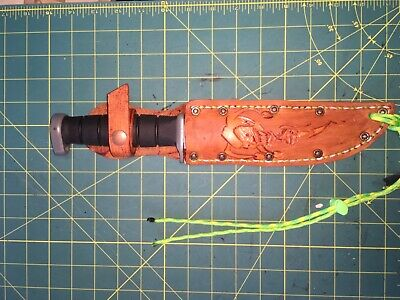 "Sheath Jester Hand Carved Leather Fits up to 7""X1 1/4"" blade Knife"