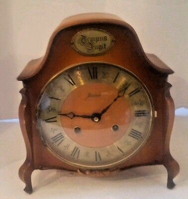 Vintage Haid Key Wound 2 Jewel Mantle Clock Chimes Franz Hermle Tempus Fugit
