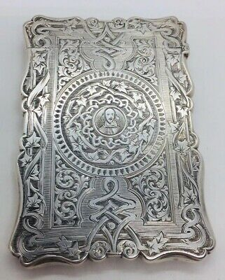 Aston & Son Antique English Sterling Silver Ornate Card Case