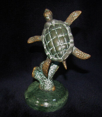 """VINTAGE TURTLE SCULPTURE on Marbled Base by SPI 5 1/2"""" Tall x 4"""" Wide"""