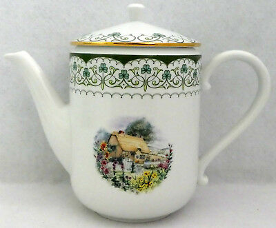 CELTIC COTTAGE Teapot Franklin Mint Handcrafted Retired RARE Dinnerware Irish
