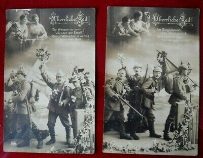 "2 Vtg 1914 WWI German Army Photo Studio POSTCARDS RPPC ""O Herrliche Zeit"""