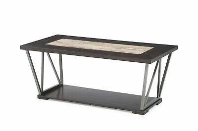 "Emerald Home North Bay Brown and Silver Gray 47"" Coffee Table with Wood And Tile"