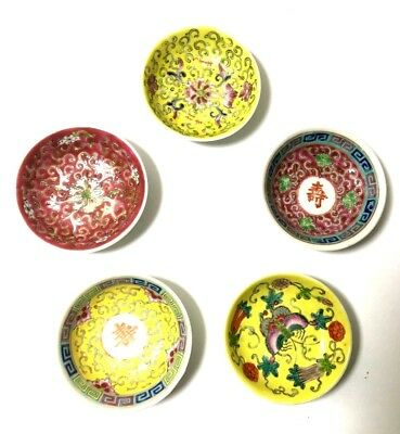 """Vintage Antique Lot of 5 Miniature Japanese Asian Hand Painted Bowls 3 1/4"""" x 1"""""""