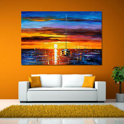 Sunset Sailboat Abstract Canvas Oil Painting Wall Art Picture Prints Decor US
