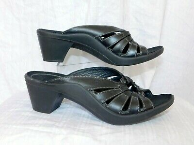 4ff72eebf68 CLARKS PRIVO WOMENS Sz 8.5 M Black Patent Leather Strappy Slides ...