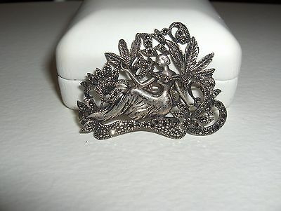 Vtg Ornate Sterling Silver Pin Brooch Reclining Woman Foliage Many Marcasites
