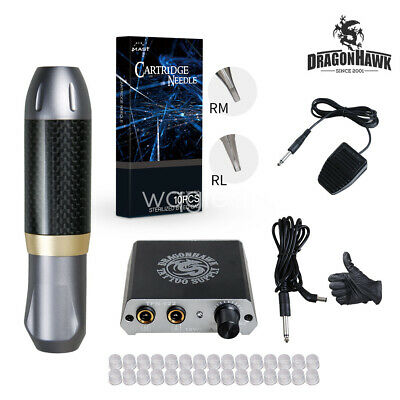 Dragonhawk Beginner Tattoo Machine Set Kit Motor Rotary Pen Power Supply Needles
