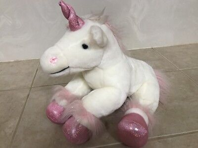b5f352f17a4 Build A Bear Workshop Sparkles Unicorn Pink   White Stuffed Animal Plush 16
