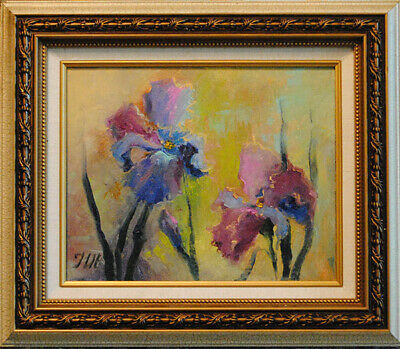 "Irises. Original framed oil on canvas 8""x10"" painting from artist"