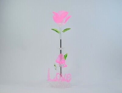 Love Light Pink Rose Flower Pen and Stand  of Blown Glass