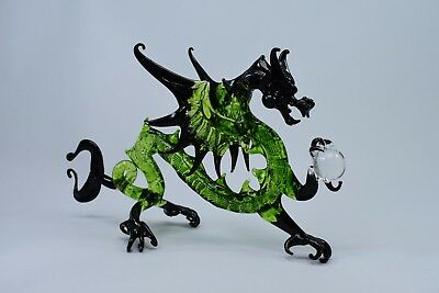 Dragon Green and Black Figurine of Blown Glass Crystal