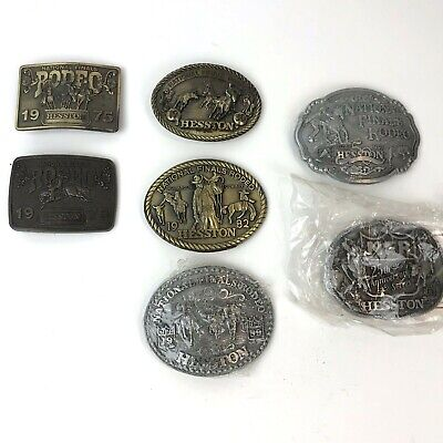 NOS VINTAGE 1975 NFR RODEO HESSTON Lot 7 BUCKLES 76, 80, 82, 83 25th Anv. 97