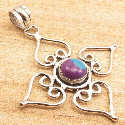 "925 Silver Plated Pendant 2 "" ! PURPLE COPPER TURQUOISE Gem Old Style Jewelry"