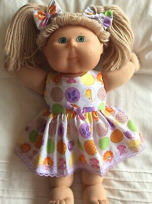 "DOLLS CLOTHES - DRESS & BOWS to fit 16"" CABBAGE PATCH ~ Circles -Animals"