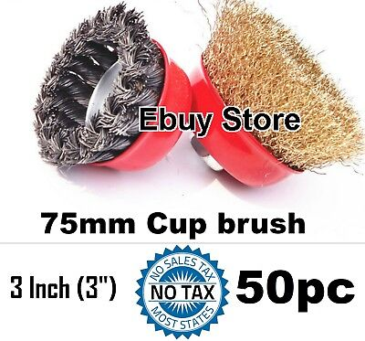 "50 cups 3"" x 5/8"" Crimped & Twist Knot Wire Cup Brush For Angle Grinders"