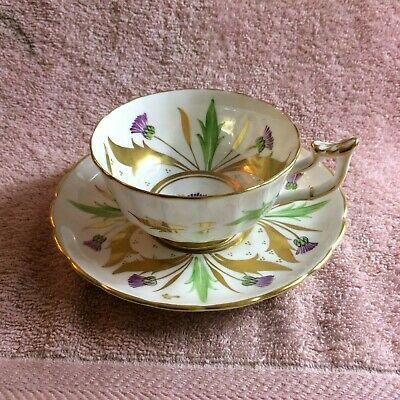 Royal Chelsea England Bone China Flower gold Tea Cup & Saucer Duo Set  333A