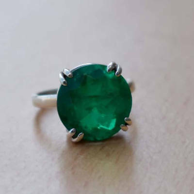 Round Faceted Green Emerald Gemstone 925 Sterling Silver Prong Ring USA Size 7