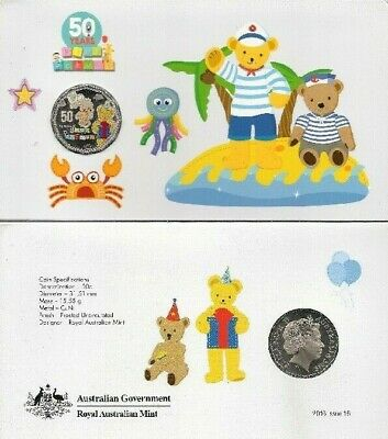 2016 50 Cents Play School BIG TED and LITTLE TEDDY Coloured Coin Uncirculated