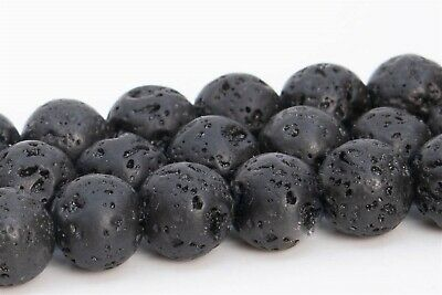 6MM Natural Black Volcanic Lava Grade AAA Round Gemstone Loose Beads 15.5""