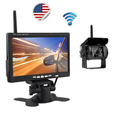 "Wireless Rear View Backup Night Vision Camera + 7"" Monitor Kit for RV Truck Bus"
