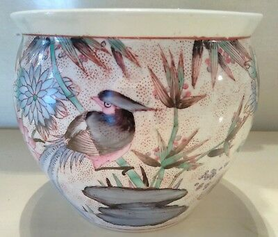 Vintage Chinese Koi Pot Jardiniere Birds  Flowers Gold Fish Marked