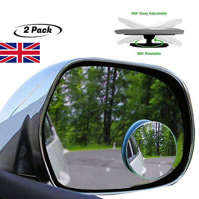 2X Car Blind Spot Mirror Adjustable Wide Angle 360 Rotation Convex Rear View .S