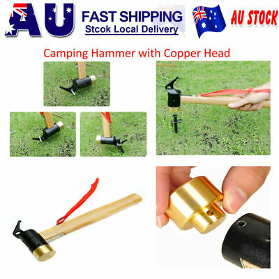 AU Copper Brass Peg Hammer Tools with Copper Head for Tent Peg Stakes Remover