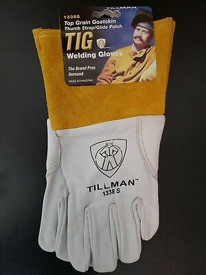 "Tillman 1338 S Top Grain Goatskin TIG Welding Gloves with 4"" Cuff, Small"