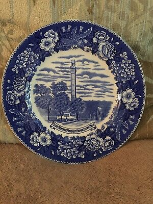 OLD ENGLISH STAFFORDSHIRE WARE PLATE -Piligrim men. Monument Provincetown Mass