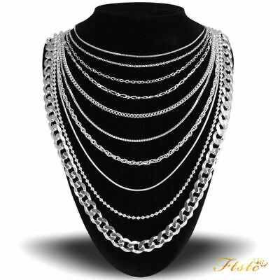 Genuine Hallmarked Real 925 Solid Sterling Silver Chain Necklace Various Styles.