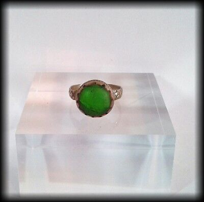 Antique Near Eastern Ring with Green Glass Stone