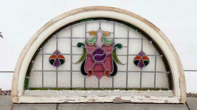 Large reclaimed Victorian stained glass doorway fanlight