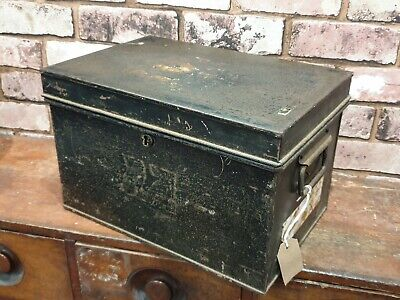 Vintage Black Metal Deed Box