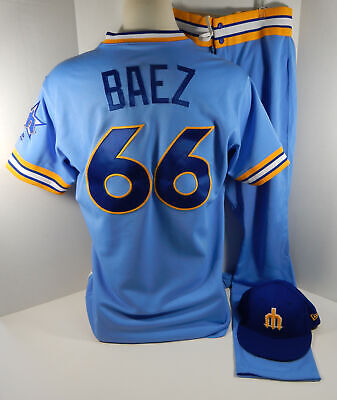 23c5af97828 2018 Seattle Mariners Fleming Baez  66 Game Used Blue 1979 TBTC Jersey Pant  Hat