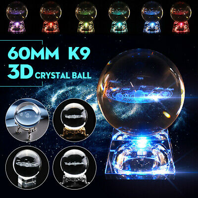 3D Clear Glass Engrave Solar System 60mm Crystal Ball LED/Metal Base Gift Decor